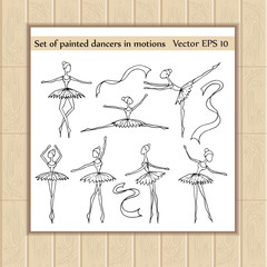 Vector set of painted cartoon dancers in motions