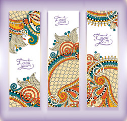 set of decorative flower template banner, card, web design