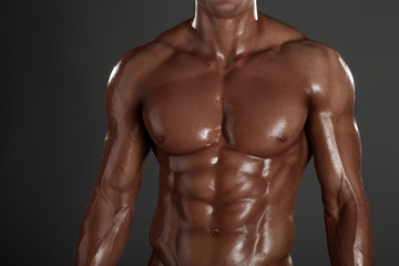Muscled male model in studio