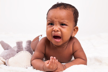 Little african american baby girl crying - Black People