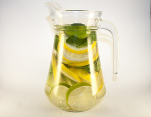 Glas can full of lemon, lime and mint