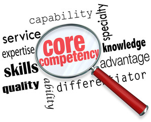 Core Competency Magnifying Glass Words Find Competitve Advantage