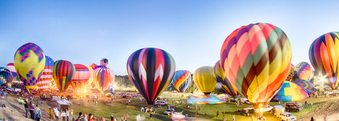 Deurstickers Ballon Bright Hot Air Balloons Glowing at Night