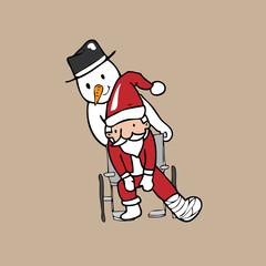 Santa wheel chair snowman