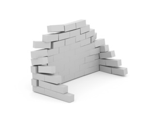 Silver crash brick wall isolated on white