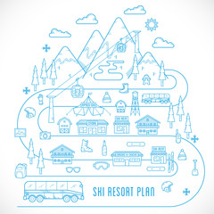 Line Style Vector Ski Resort Vacation Illustration