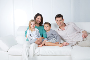 happy family group on white background