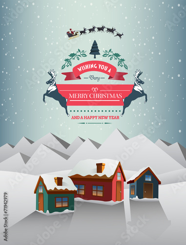 Christmas greeting message over snowy village stock image and christmas greeting message over snowy village m4hsunfo