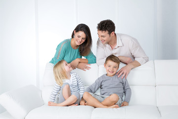 cheerful family in living room
