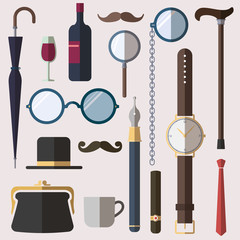 Gentlemen vintage stuff design elements set