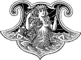 Vintage illustration mermaid