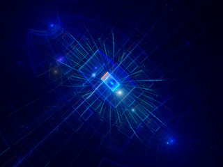 Blue abstract technology background with glowing rectangles