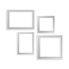 white frame set for paintings isolated on white background
