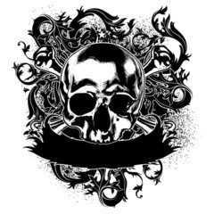 decorative art label with skull stmbol