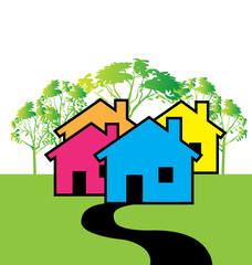 Houses illustration for Real Estate business card logo