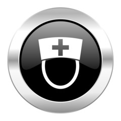 nurse black circle glossy chrome icon isolated