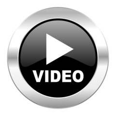 video black circle glossy chrome icon isolated