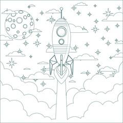 Cartoon Flying Rocket in the Sky.  Contour vector