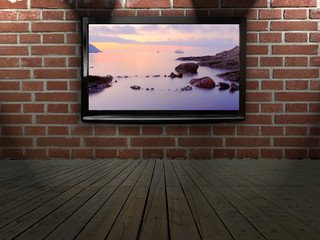 Plasma TV on the wall