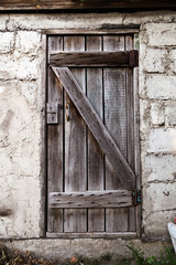 Old decayed wooden door
