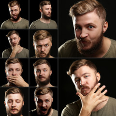 Emotion concept. Handsome man with beard collage