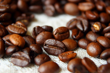 Coffee beans close up.