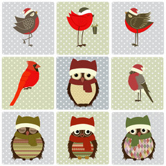 Set of Christmas birds on squares with dots