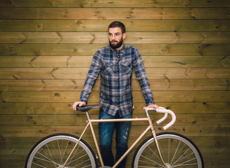 Hipster man with his fixie bike