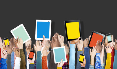 Hands Holding Digital Devices with Copy Space