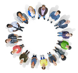 Group of Multiethnic People Forming a Circle Looking Up