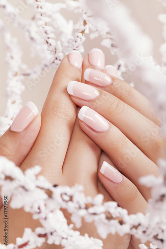 Wall mural Beautiful woman's nails with french manicure.
