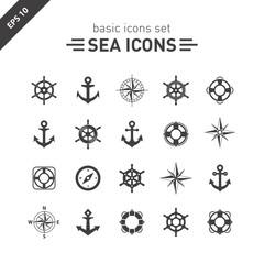 Sea icons set.