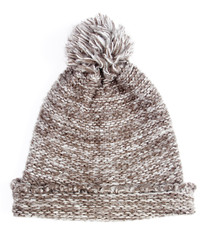 Grey knitted wool winter cap isolated on white background