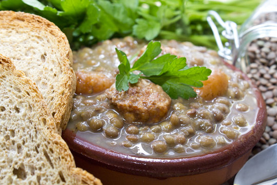tasty lentils with bread