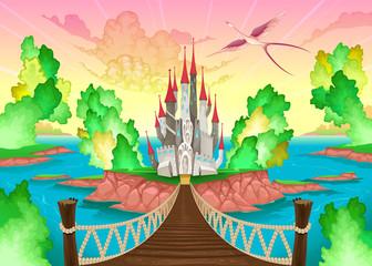 Fantasy landscape with castle.