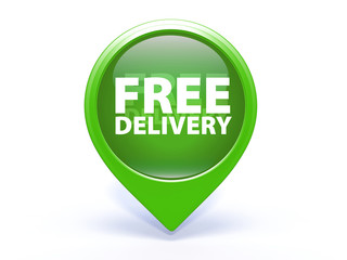 Free delivery pointer icon on white background