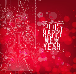 Happy new year With Christmas Ornaments