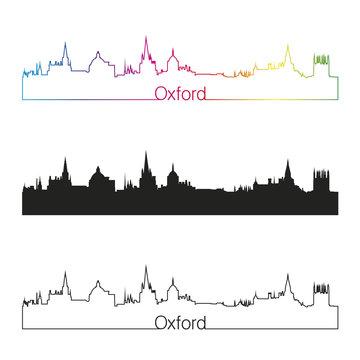 Oxford skyline linear style with rainbow