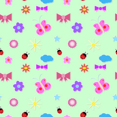 Elegant texture for backgrounds with ladybugs, bow, cloud, butt