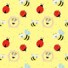 Elegant texture for backgrounds. With ladybugs, bee, sun and dot