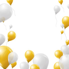Golden and white balloons background