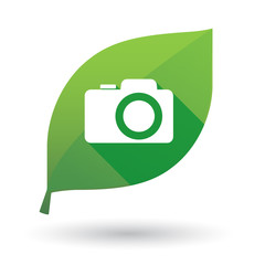Green leaf icon with a photo camera