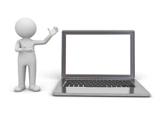 3d man presenting blank laptop monitor isolated over white