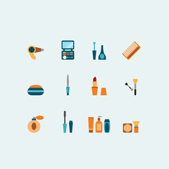 Set of colored vector hairstyling and makeup icons showing