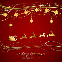Red Christmas background with Santa
