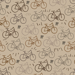Hipster bicycle seamless pattern