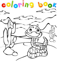 Snake in desert coloring book