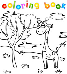 Giraffe in the forest coloring book
