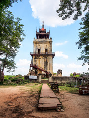 Nanmyint watch tower or Ava incline tower in Inwa, Myanmar