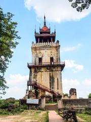Nanmyint watch tower or Ava incline tower in Inwa, Myanmar